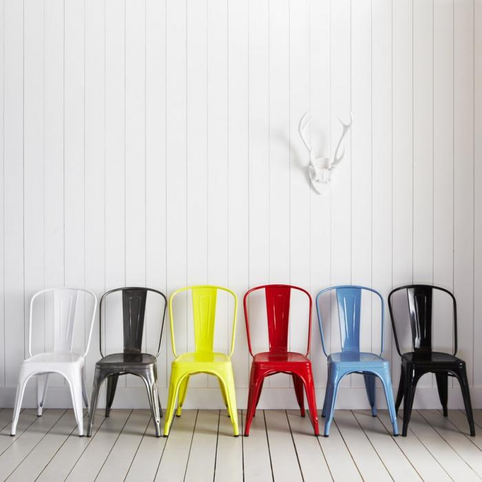 Variety of colorful chairs for modern dining rooms  Variety of colorful chairs for modern dining rooms 700 tolix colour group a chair1