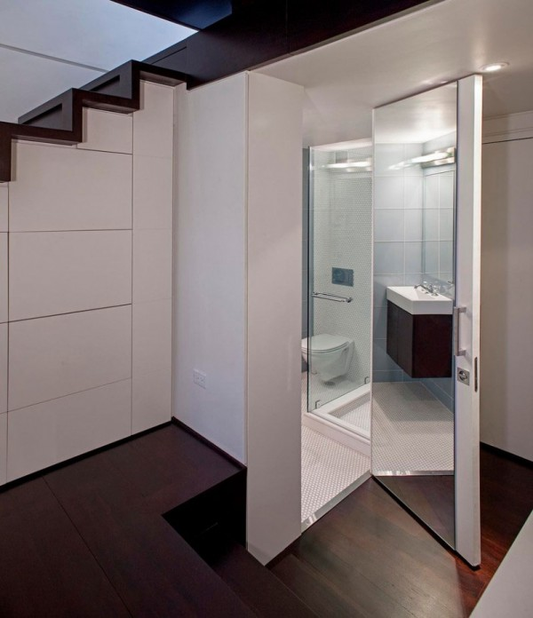 How to Decorate a Small Apartment in New York apartment in new york How to Decorate a Small Apartment in New York Manhattan Micro Loft mirrored bathroom