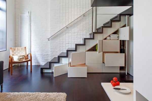 How to Decorate a Small Apartment in New York apartment in new york How to Decorate a Small Apartment in New York Manhattan Micro Loft storage stairs open living