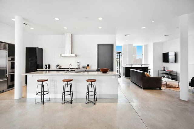 Rihanna's $14 Million Dollar NYC Penthouse nyc penthouse Rihanna's $14 Million Dollar NYC Penthouse kitchen new york penthouse soho den open floor concept modern multi million dollar home new york design agenda
