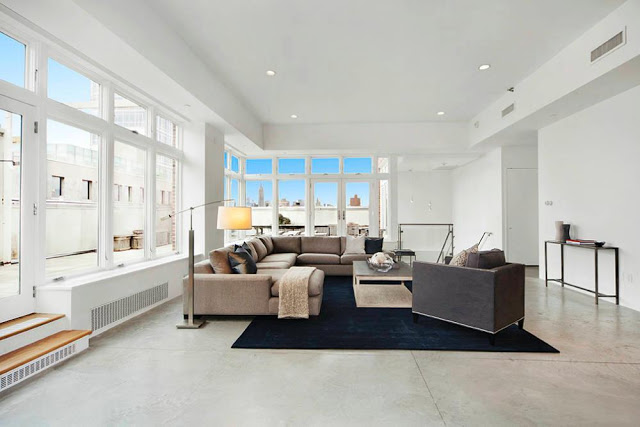 Rihanna's $14 Million Dollar NYC Penthouse nyc penthouse Rihanna's $14 Million Dollar NYC Penthouse living room new york penthouse soho rihanna new york design agenda modern